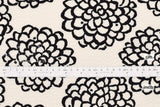 Japanese Fabric Cotton Seersucker Kiku Flowers - black - 50cm