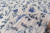 Japanese Fabric - dobby voile foliage - white blue - 50cm