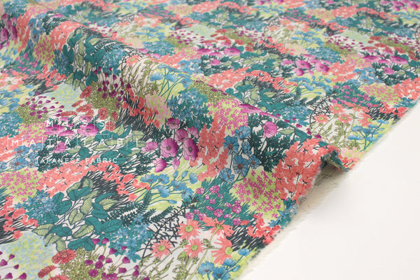 Japanese Fabric wonder forest lawn - orange, green, pink, blue - 50cm