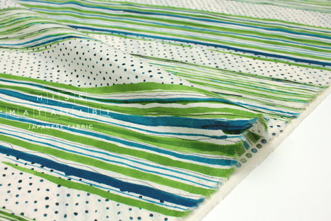Japanese Fabric Kokka Stripes Voile - green - 50cm