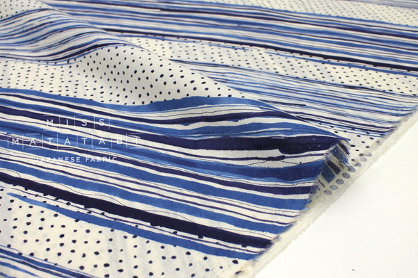 Japanese Fabric Kokka Stripes Voile - blue - 50cm