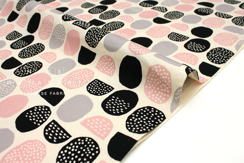 Japanese Fabric Kokka Trefle Stones - pink, grey, black - fat quarter