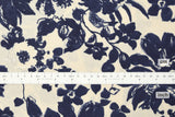 Japanese Fabric Painted Floral rayon linen - cream, indigo blue - 50cm