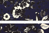 Japanese Fabric Painted Floral rayon linen - indigo blue, black - 50cm