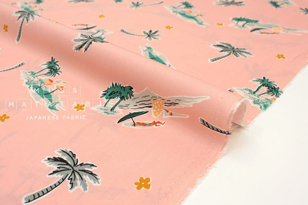 Japanese Fabric Flamingo Island rayon lawn - pink - 50cm