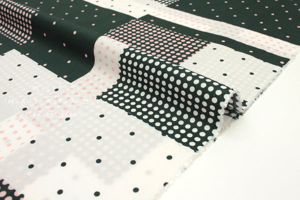 Japanese Fabric Dotty rayon lawn - forest green, pink - 50cm