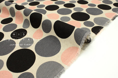 Japanese Fabric Polka Dots - pink, black, grey - 50cm