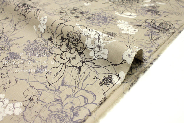 Japanese Fabric 100% linen Rose - taupe, grey -  50cm
