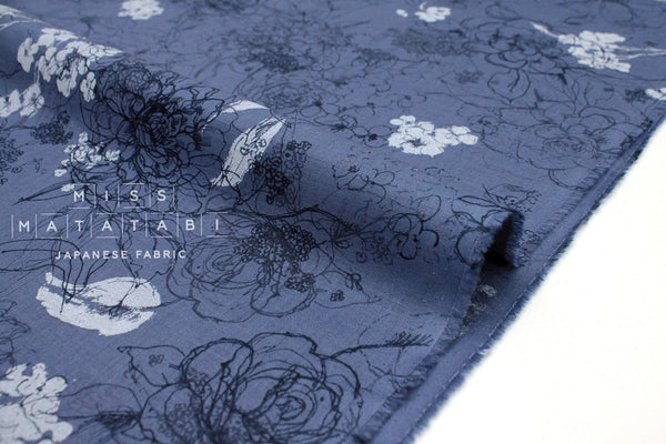 Japanese Fabric 100% linen Rose - blue, grey -  50cm