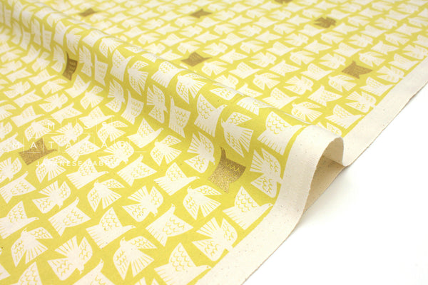 Japanese Fabric Cotton + Steel Kibori - Paper Birds - citron metallic - 50cm