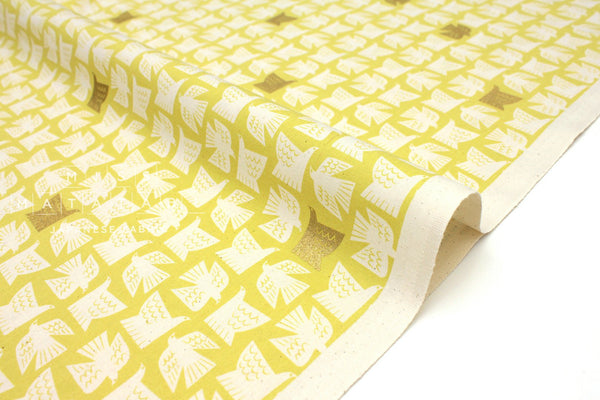 Japanese Fabric Cotton + Steel Kibori - Paper Birds - citron metallic - fat quarter