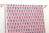 Japanese Fabric Putidepome Musical Cats - pink, green - 50cm