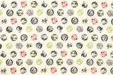 Japanese Fabric Kamon dobby - cream, green, pink - 50cm