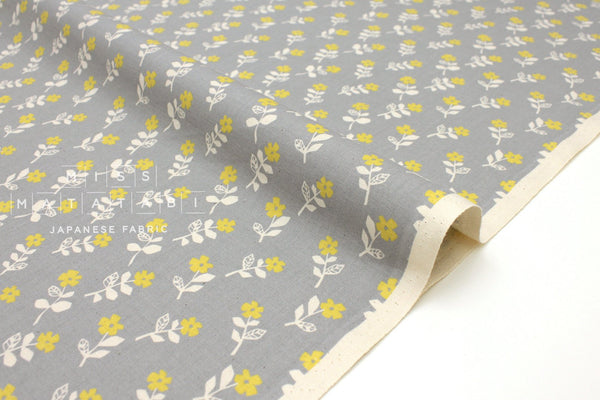Japanese Fabric Cotton + Steel Mori No Tomodachi - Flower Dance - grey - 50cm