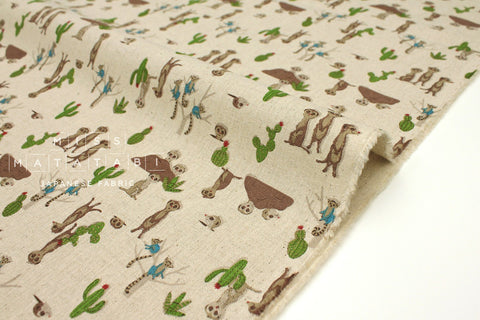 Japanese Fabric Kokka Meerkat - natural - fat quarter