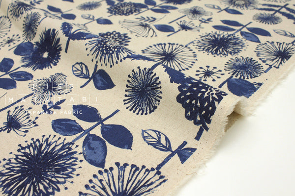 Japanese Fabric Kokka Bright Flowers - blue, natural - 50cm