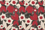 Japanese Fabric Kokka Trefle Simple Blue Flowers - red, charcoal - 50cm