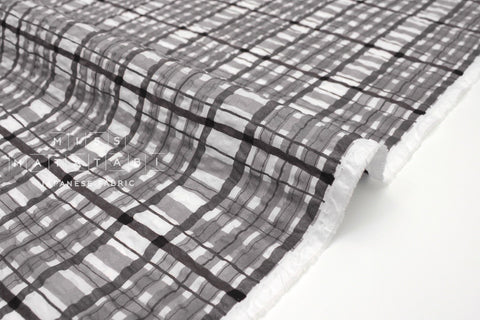 Japanese Fabric Plaid Enshuku lawn - grey - 50cm