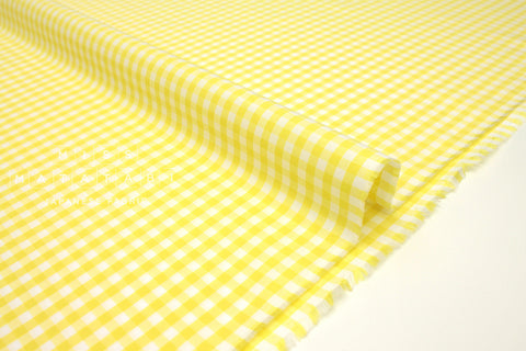 Japanese Fabric Yarn Dyed Gingham Lawn - yellow - 50cm