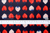 Cotton + Steel Yours Truly - strawberry laminated - red, navy blue - 50cm