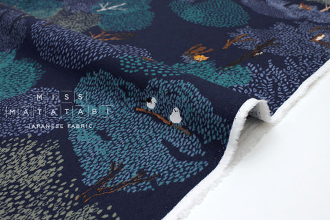Japanese Fabric Kotorinuno Mori - blue - 50cm