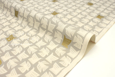 Japanese Fabric Cotton + Steel Kibori Newsprint - Paper Birds - grey, metallic gold - fat quarter