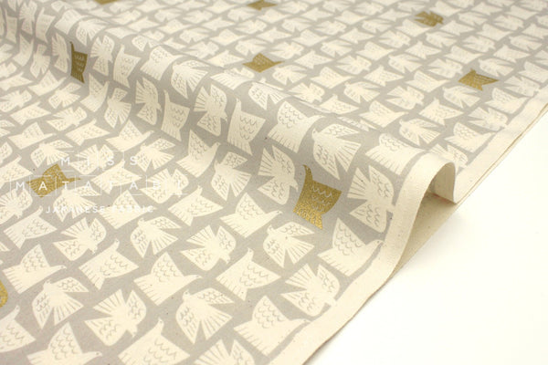 Japanese Fabric Cotton + Steel Kibori Newsprint - Paper Birds - grey, metallic gold - 50cm