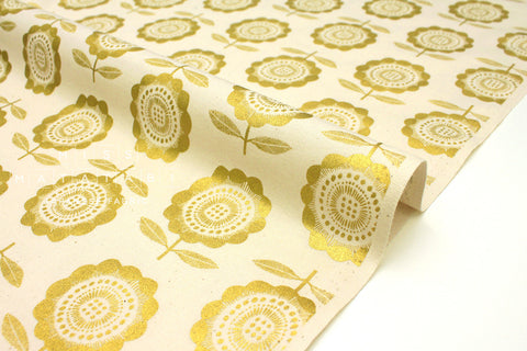 Japanese Fabric Cotton + Steel Kibori Newsprint - Peko - straw, metallic gold - 50cm