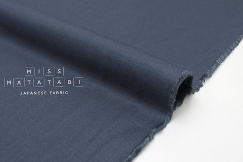Japanese Fabric Linen Blend Solids - blue - 50cm