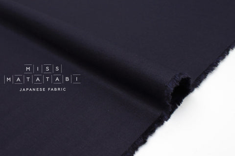 Japanese Fabric Linen Blend Solids - navy blue - 50cm
