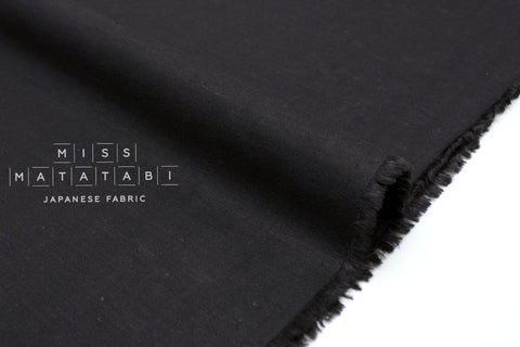 Japanese Fabric Linen Blend Solids - black - 50cm
