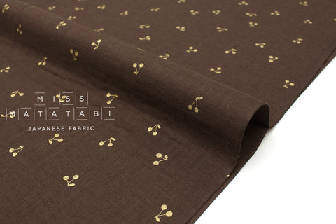 Japanese Fabric Kobayashi Cherry Double Gauze -  chocolate brown, metallic gold - 50cm