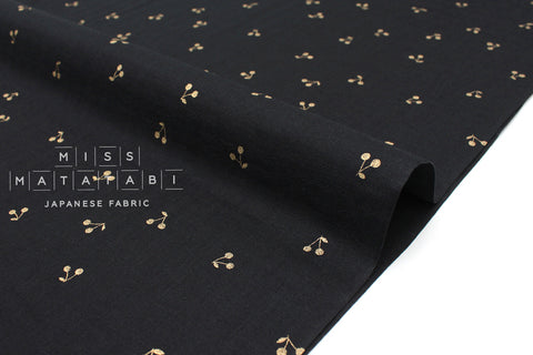 Japanese Fabric Kobayashi Cherry Double Gauze -  black, metallic gold - 50cm