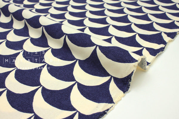 Japanese Fabric Scallops canvas - blue -  50cm