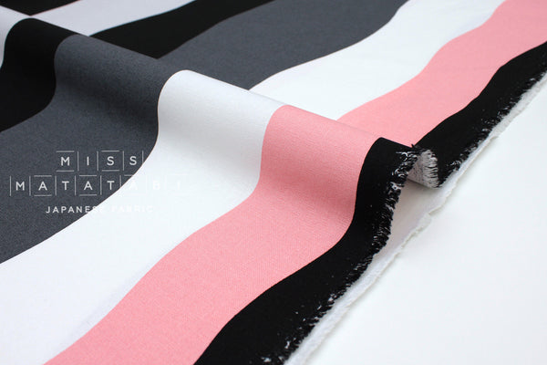 Japanese Fabric Wavy Stripes canvas - pink, grey, black, white -  50cm