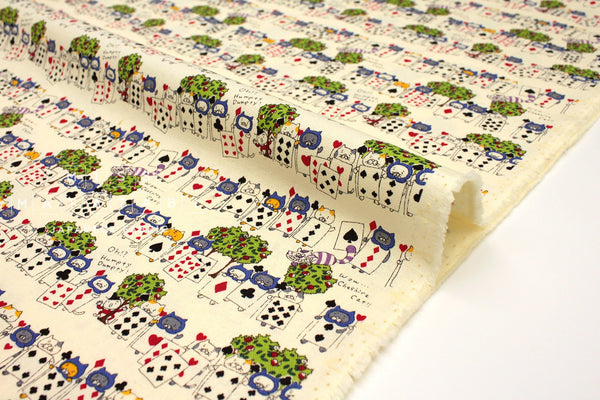 Japanese Fabric Cat of Spades - cream -  50cm