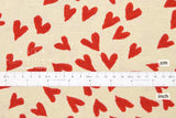 Japanese Fabric Hearts Canvas - red - 50cm
