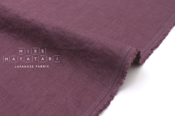 Japanese Fabric 100% washed linen - mauve -  50cm