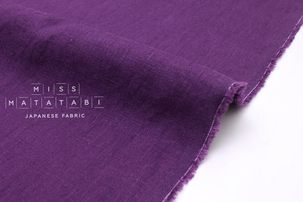Japanese Fabric 100% washed linen - purple -  50cm