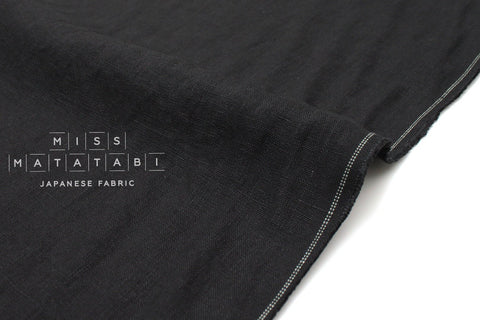 Japanese Fabric 100% washed linen - black -  50cm
