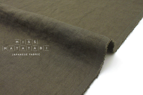 Japanese Fabric 100% washed linen - dark olive green -  50cm