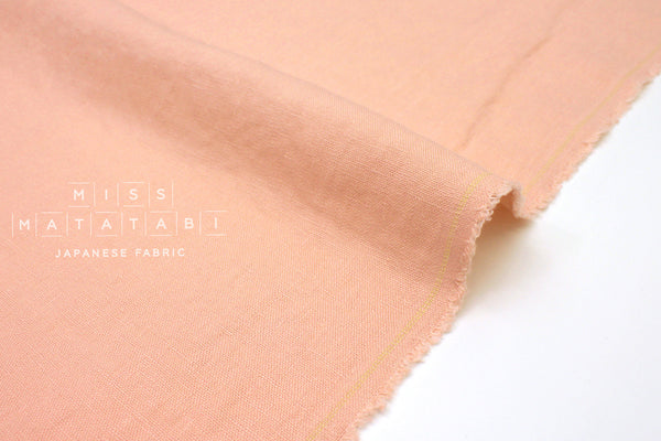 Japanese Fabric 100% washed linen - peach -  50cm