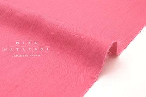 Japanese Fabric 100% washed linen - pink -  50cm