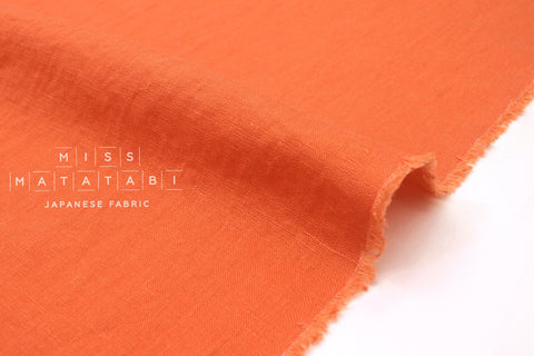 Japanese Fabric 100% washed linen - coral orange -  50cm