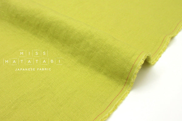 Japanese Fabric 100% washed linen - lime -  50cm