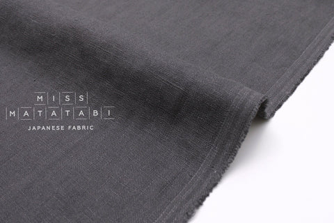 Japanese Fabric 100% washed linen - charcoal -  50cm