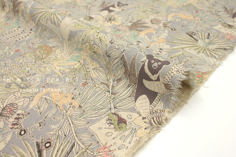 Japanese Fabric Kei Fabric Miyako Sun Bear Jungle - light grey - fat quarter