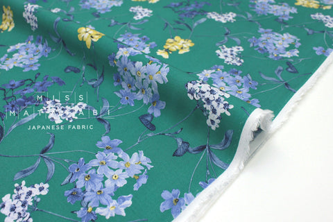 Japanese Fabric Pretty Floral rayon lawn - green - 50cm