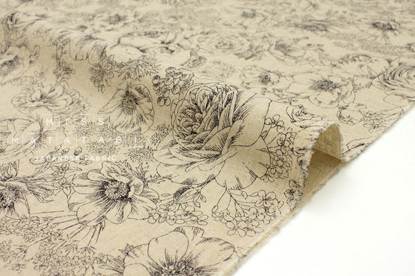 Japanese Fabric Flower Sketches - black - 50cm