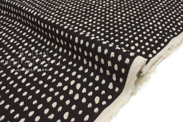 Japanese Fabric linen voile brushstrokes - black -  50cm